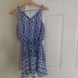 Japna blue design cross back dress
